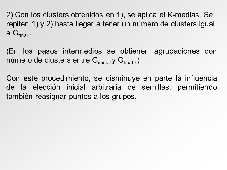 2) Con los clusters obtenidos en 1), se aplica el K-medias