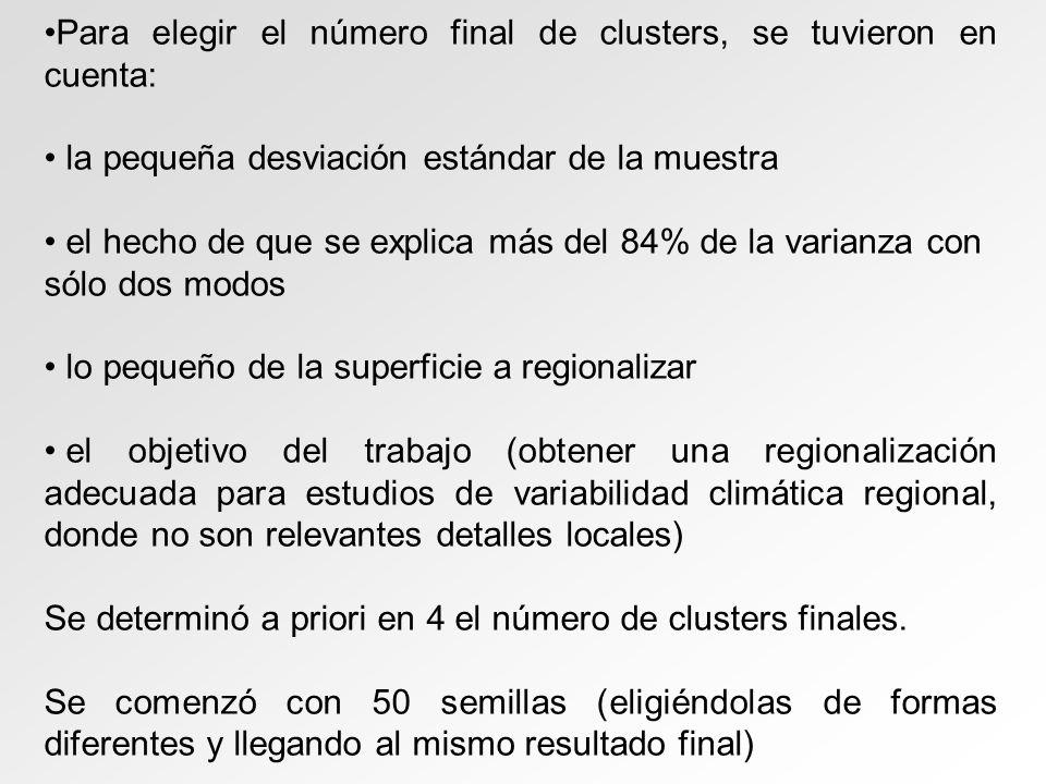 Para elegir el número final de clusters, se tuvieron en cuenta: