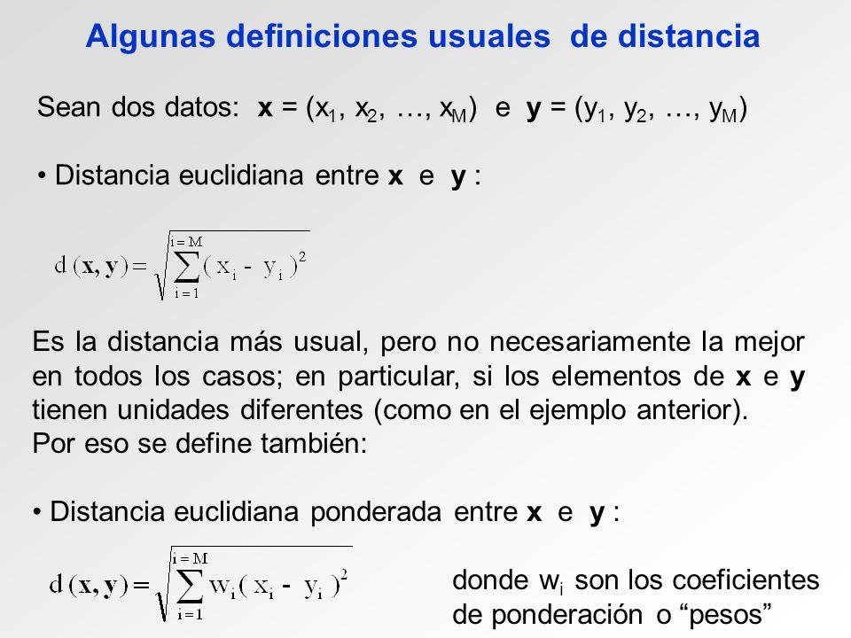 Algunas definiciones usuales de distancia