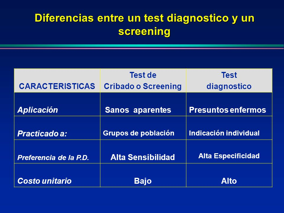 Diferencias entre un test diagnostico y un screening