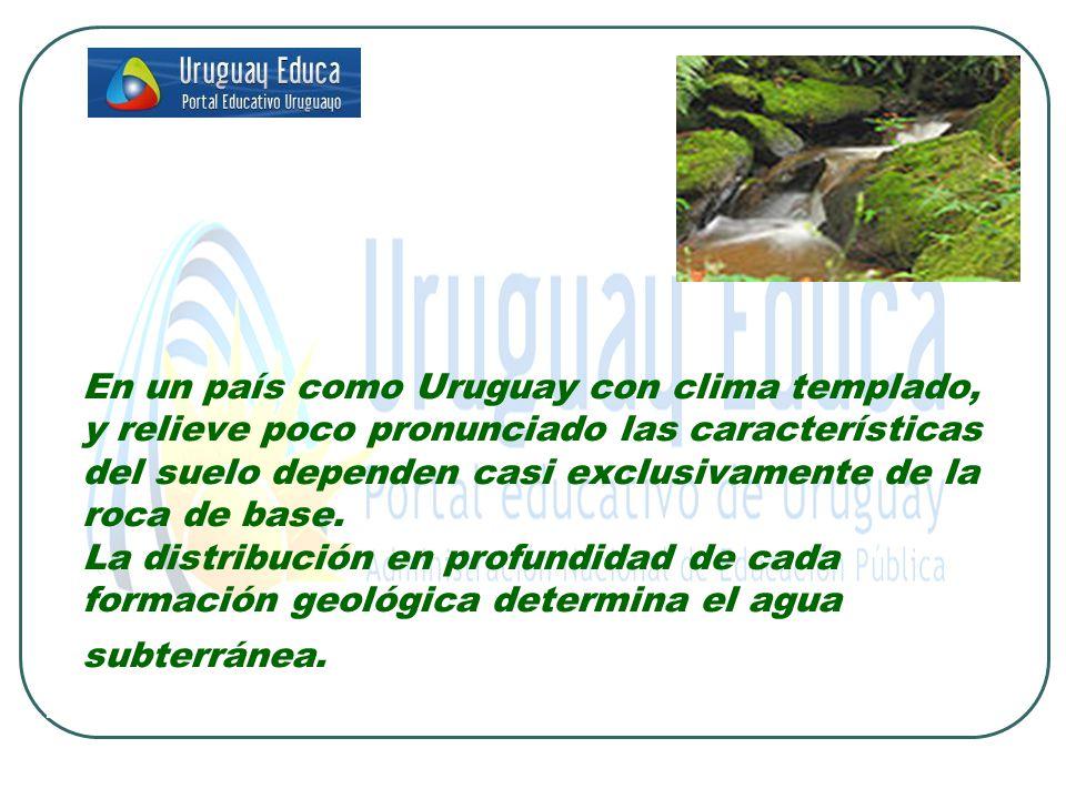 En un país como Uruguay con clima templado, y relieve poco pronunciado las características del suelo dependen casi exclusivamente de la roca de base.