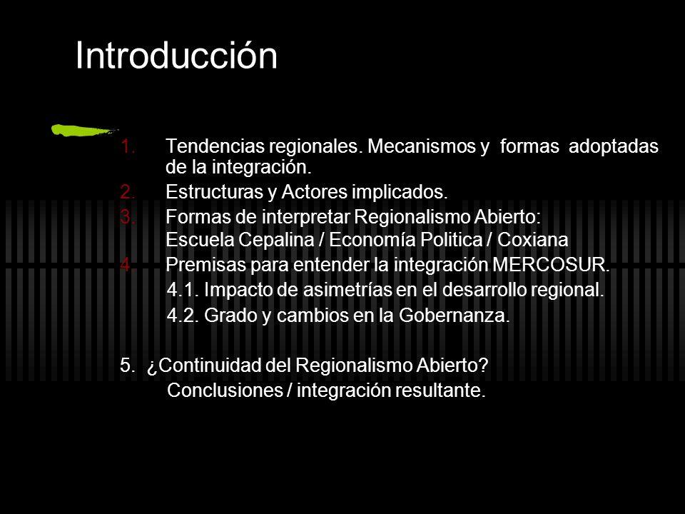 Introducción Tendencias regionales. Mecanismos y formas adoptadas de la integración. Estructuras y Actores implicados.