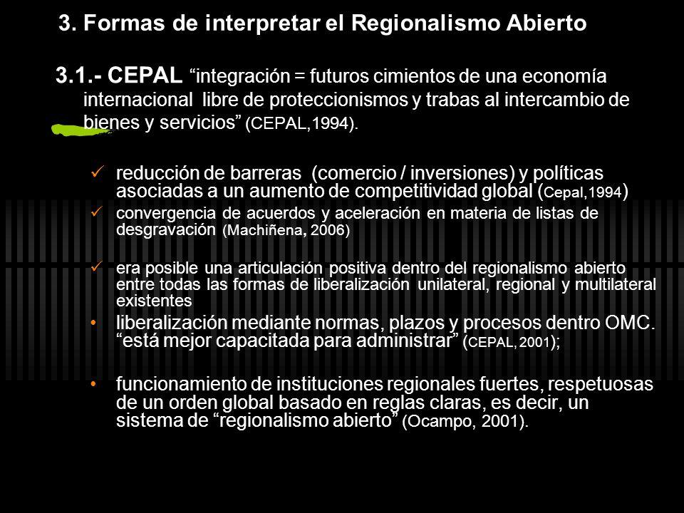 3. Formas de interpretar el Regionalismo Abierto