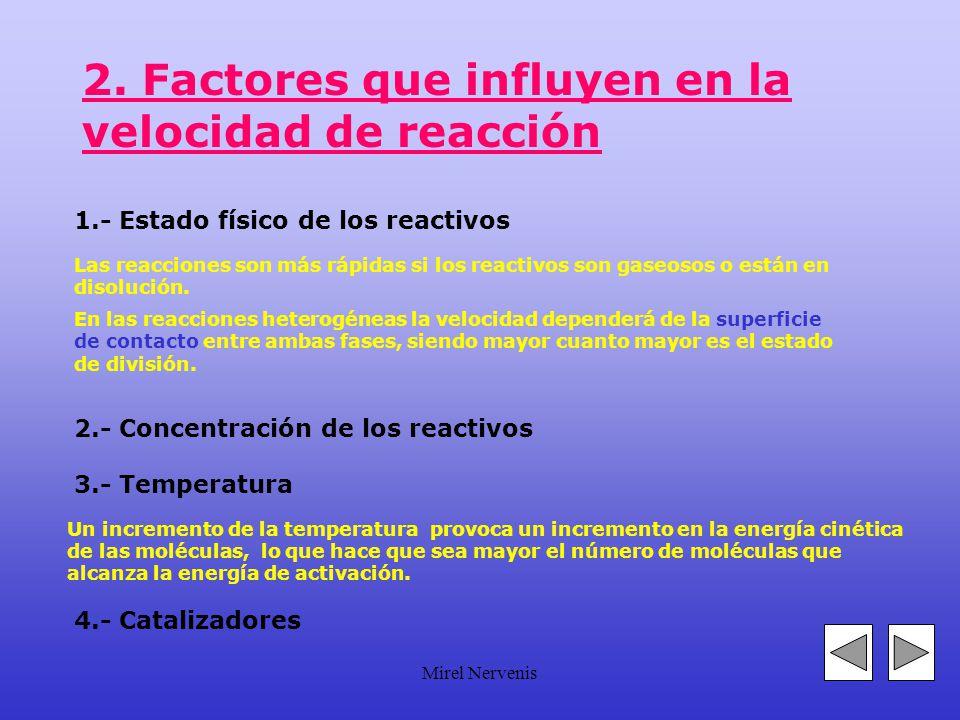 2. Factores que influyen en la velocidad de reacción