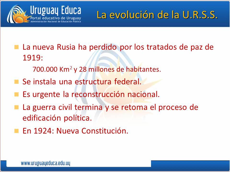 La evolución de la U.R.S.S. La nueva Rusia ha perdido por los tratados de paz de 1919: 700.000 Km2 y 28 millones de habitantes.