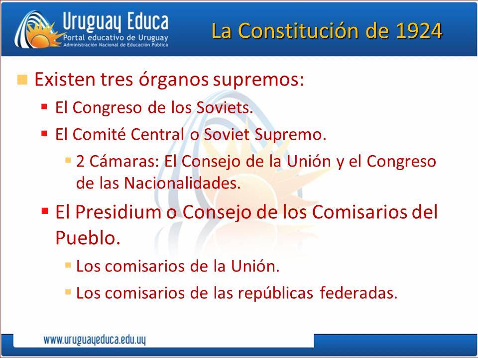 La Constitución de 1924 Existen tres órganos supremos: