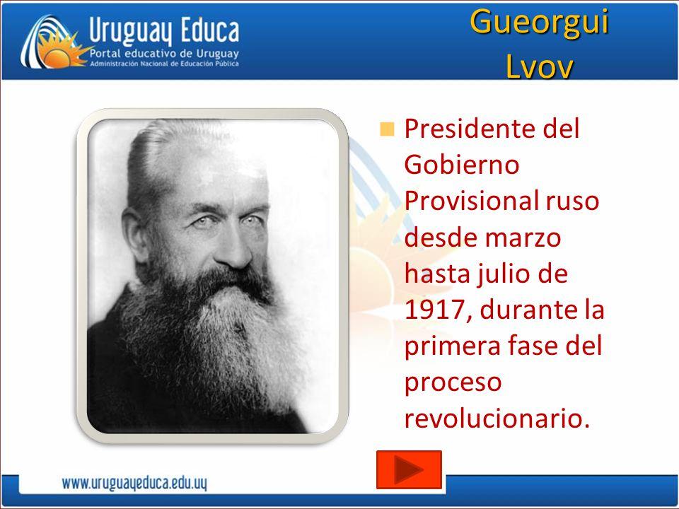 Gueorgui Lvov Presidente del Gobierno Provisional ruso desde marzo hasta julio de 1917, durante la primera fase del proceso revolucionario.