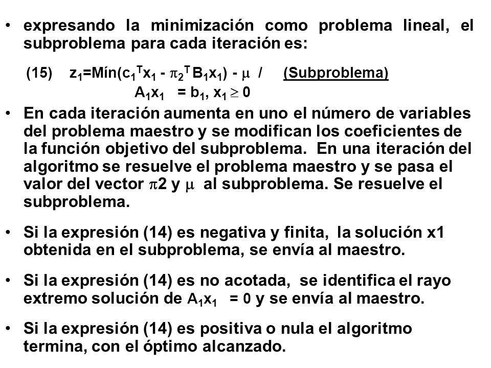 expresando la minimización como problema lineal, el subproblema para cada iteración es: