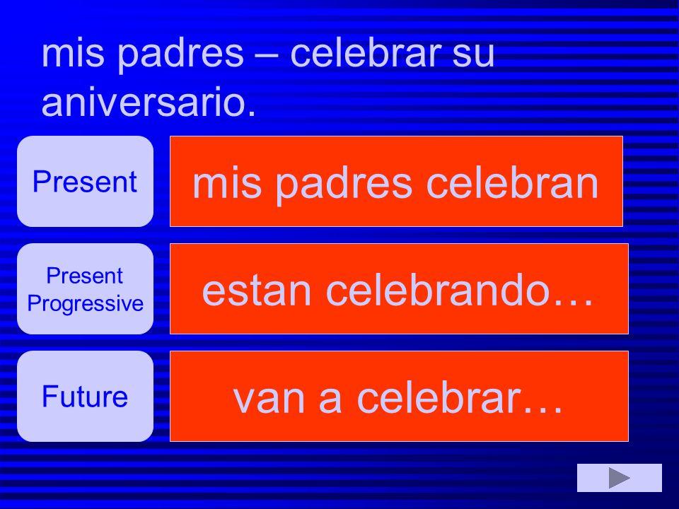 mis padres celebran estan celebrando… van a celebrar…