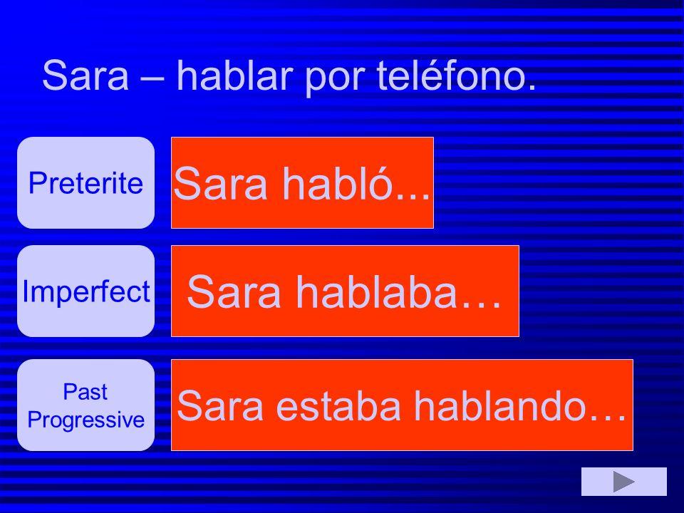 Sara habló... Sara hablaba… Sara – hablar por teléfono.