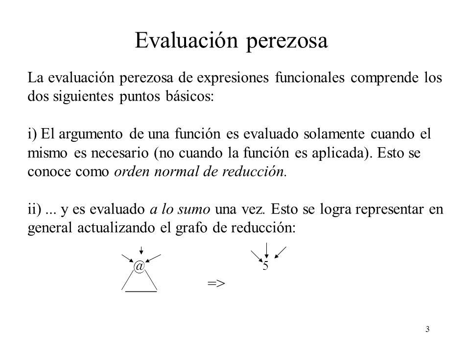 Evaluación perezosa La evaluación perezosa de expresiones funcionales comprende los dos siguientes puntos básicos: