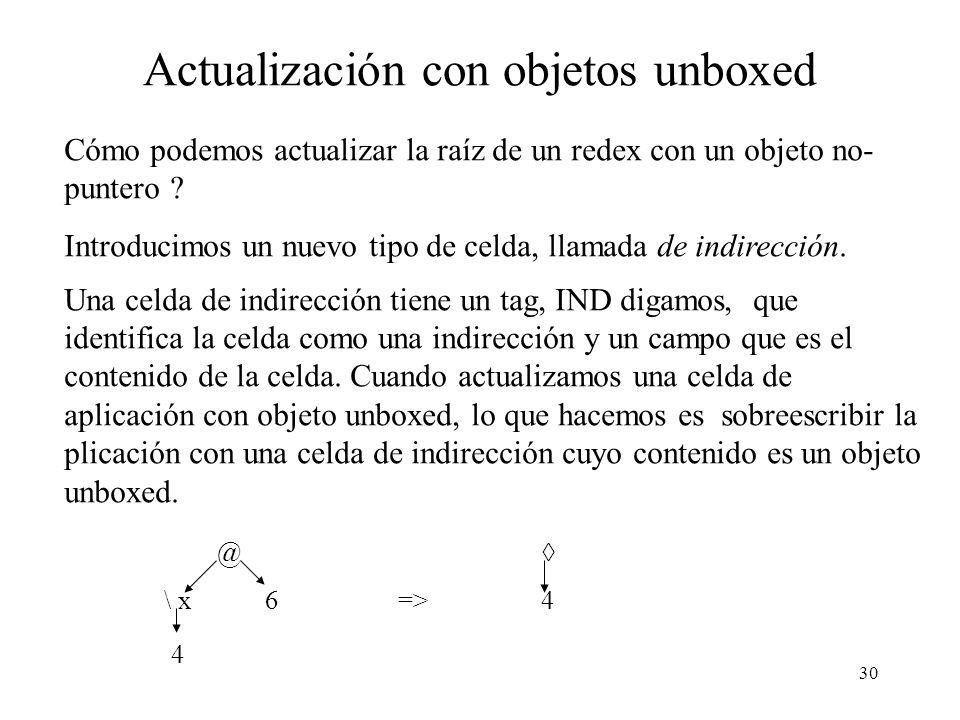 Actualización con objetos unboxed