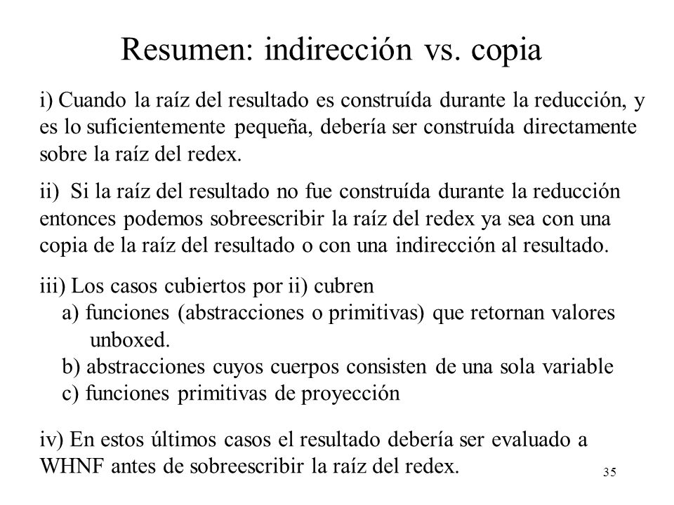 Resumen: indirección vs. copia