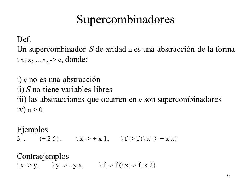 Supercombinadores Def.