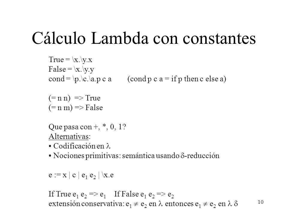 Cálculo Lambda con constantes