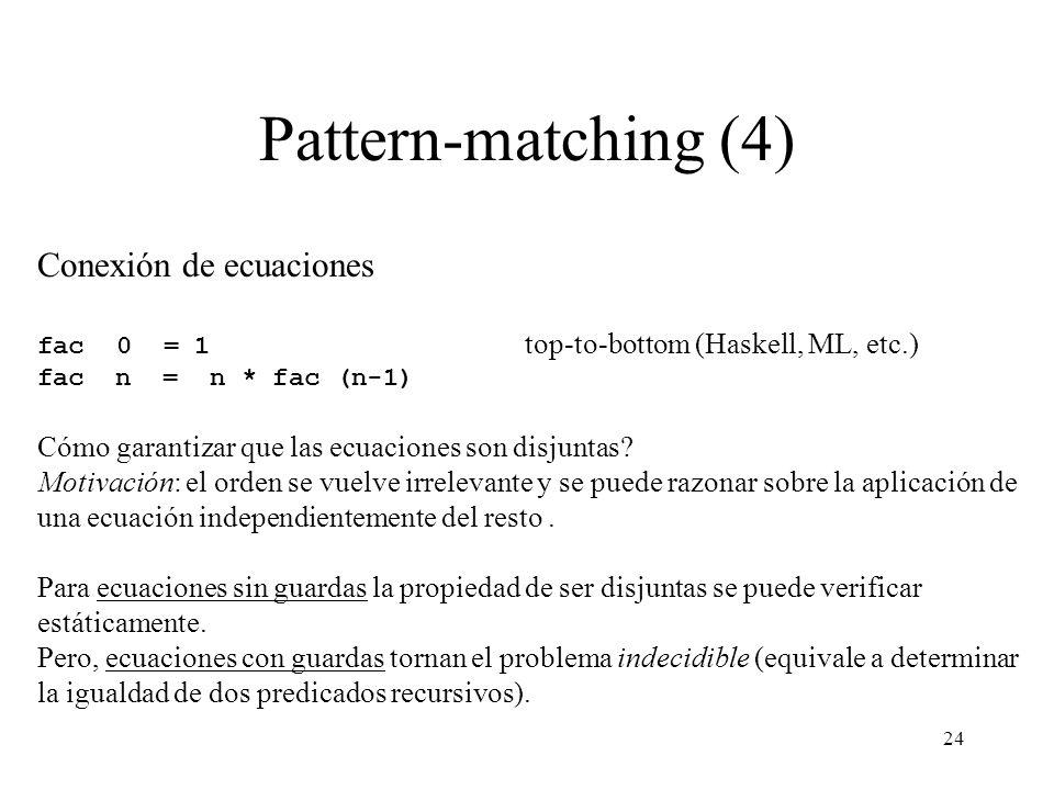 Pattern-matching (4) Conexión de ecuaciones