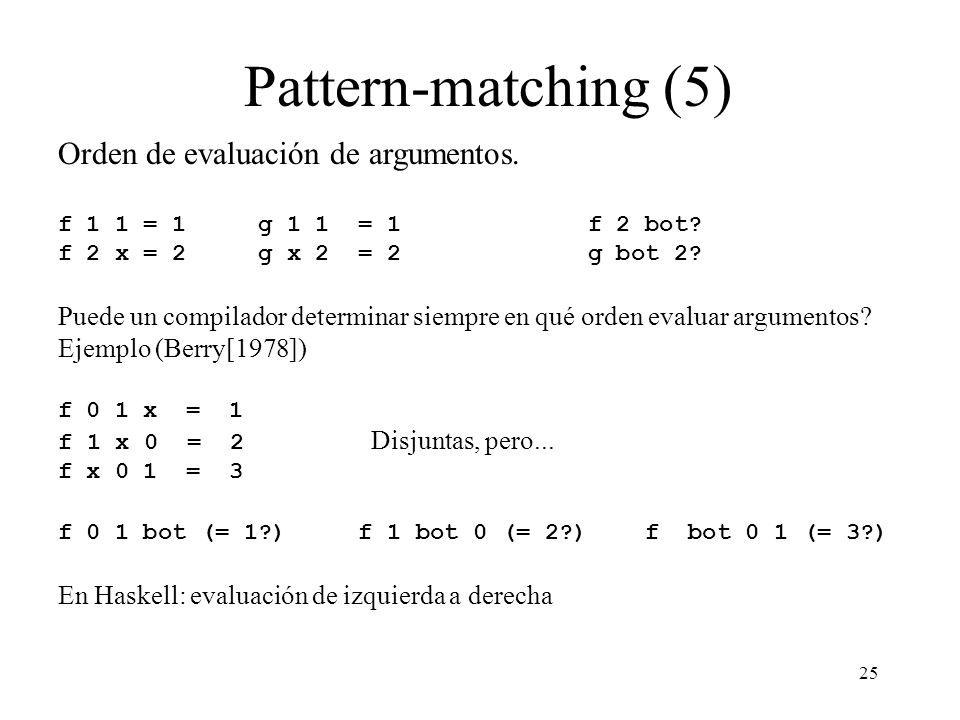 Pattern-matching (5) Orden de evaluación de argumentos.