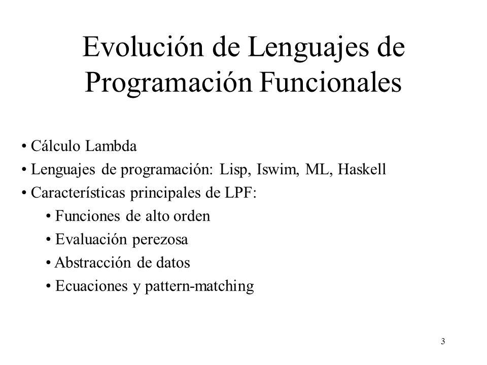 Evolución de Lenguajes de Programación Funcionales