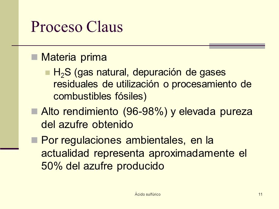 Proceso Claus Materia prima