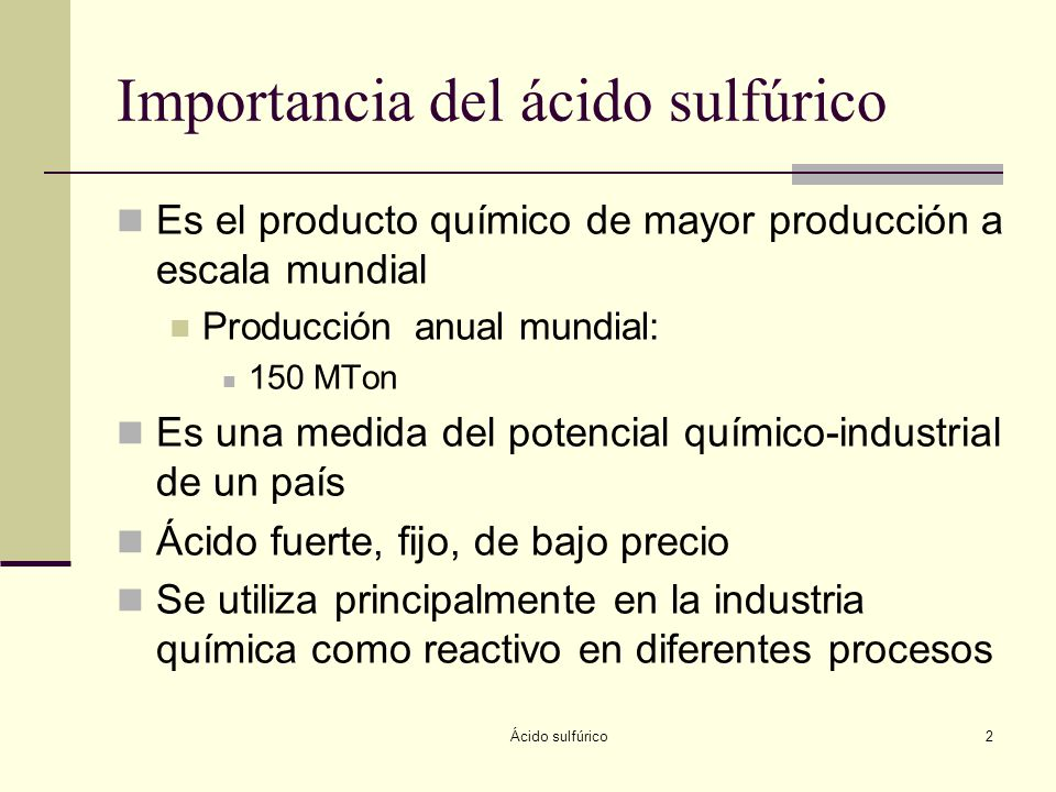 Importancia del ácido sulfúrico