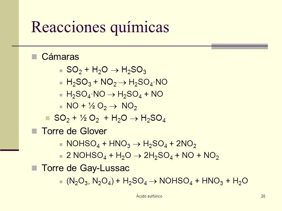 Reacciones químicas Cámaras Torre de Glover Torre de Gay-Lussac
