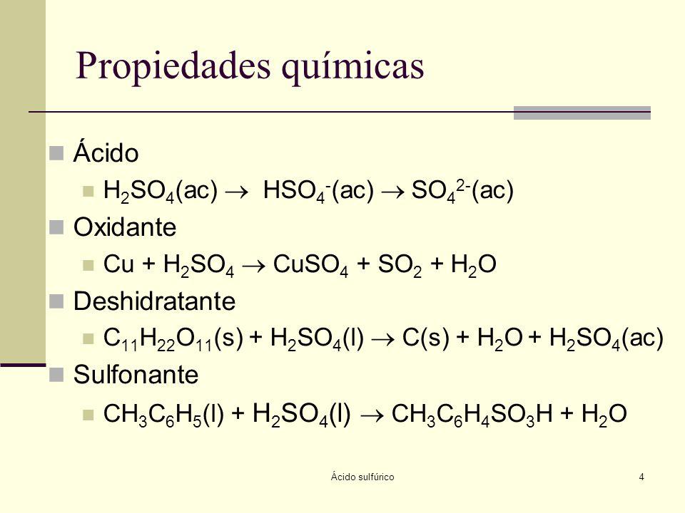 Propiedades químicas Ácido Oxidante Deshidratante Sulfonante