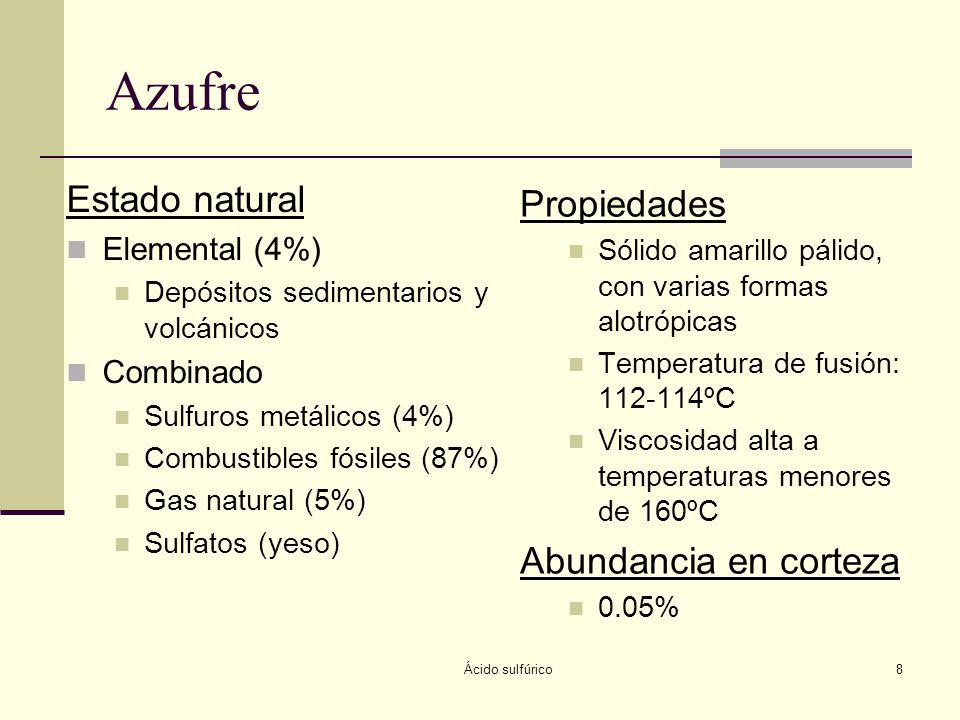 Azufre Estado natural Propiedades Abundancia en corteza Elemental (4%)