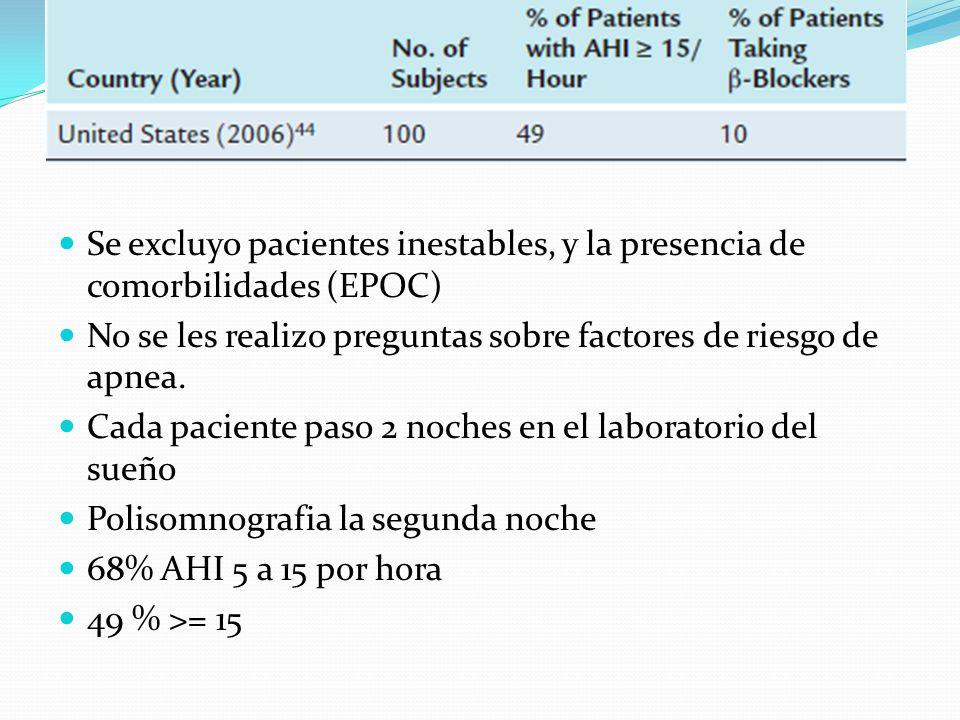 Se excluyo pacientes inestables, y la presencia de comorbilidades (EPOC)