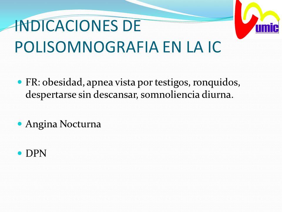 INDICACIONES DE POLISOMNOGRAFIA EN LA IC