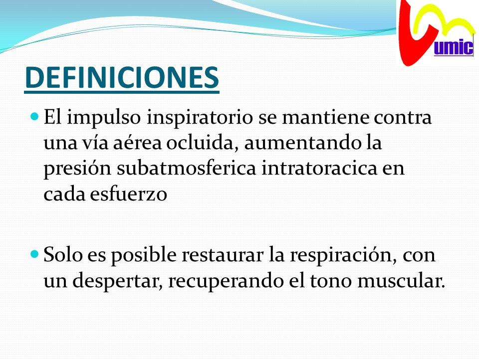 DEFINICIONES El impulso inspiratorio se mantiene contra una vía aérea ocluida, aumentando la presión subatmosferica intratoracica en cada esfuerzo.