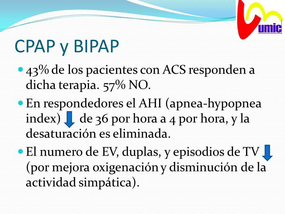 CPAP y BIPAP 43% de los pacientes con ACS responden a dicha terapia. 57% NO.