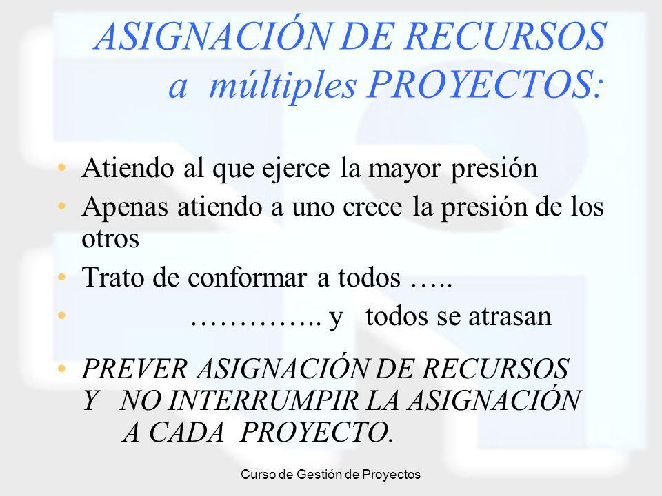 ASIGNACIÓN DE RECURSOS a múltiples PROYECTOS: