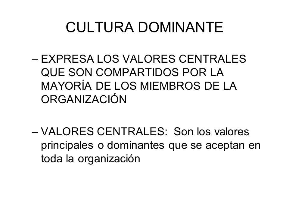 CULTURA DOMINANTE EXPRESA LOS VALORES CENTRALES QUE SON COMPARTIDOS POR LA MAYORÍA DE LOS MIEMBROS DE LA ORGANIZACIÓN.