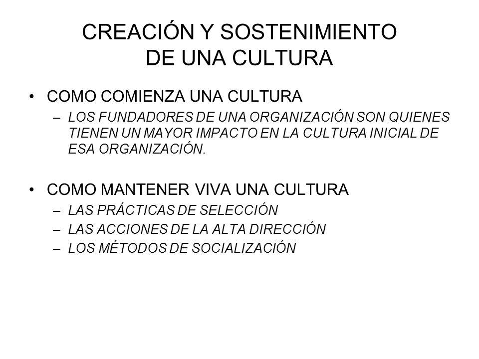 CREACIÓN Y SOSTENIMIENTO DE UNA CULTURA