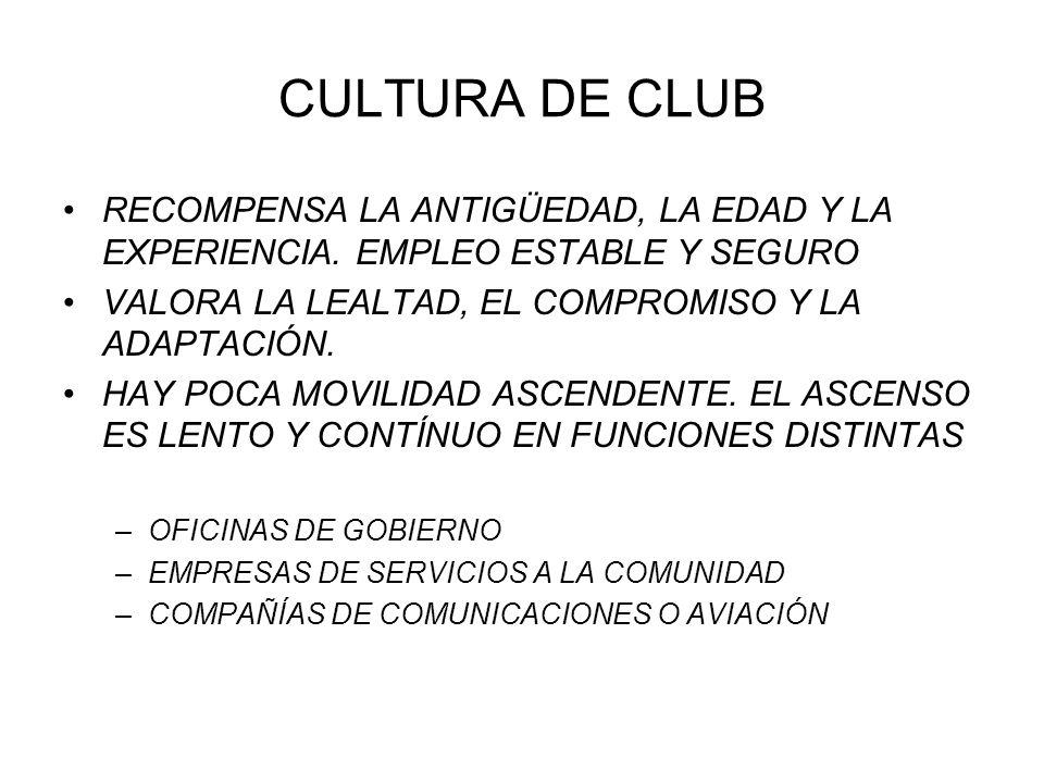 CULTURA DE CLUB RECOMPENSA LA ANTIGÜEDAD, LA EDAD Y LA EXPERIENCIA. EMPLEO ESTABLE Y SEGURO. VALORA LA LEALTAD, EL COMPROMISO Y LA ADAPTACIÓN.