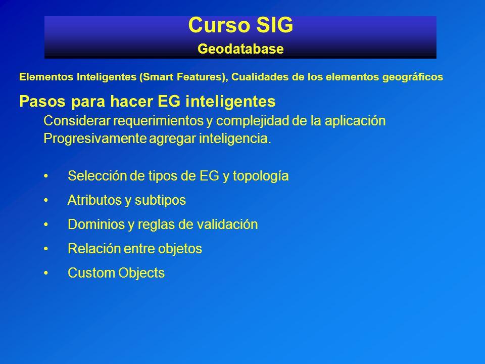 Curso SIG Pasos para hacer EG inteligentes Geodatabase