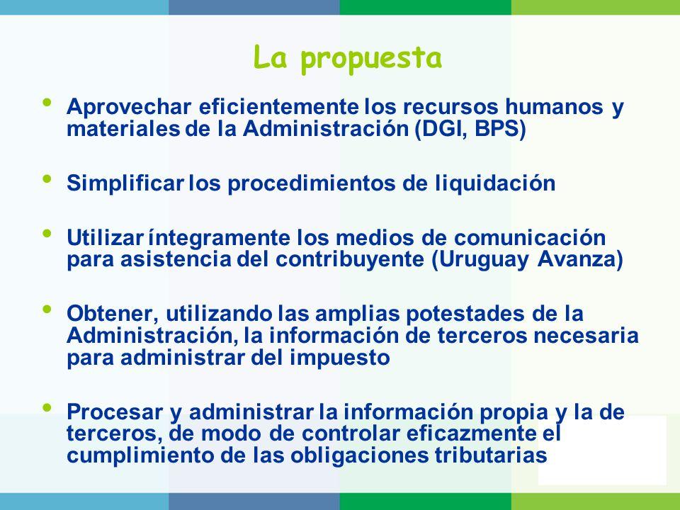La propuesta Aprovechar eficientemente los recursos humanos y materiales de la Administración (DGI, BPS)