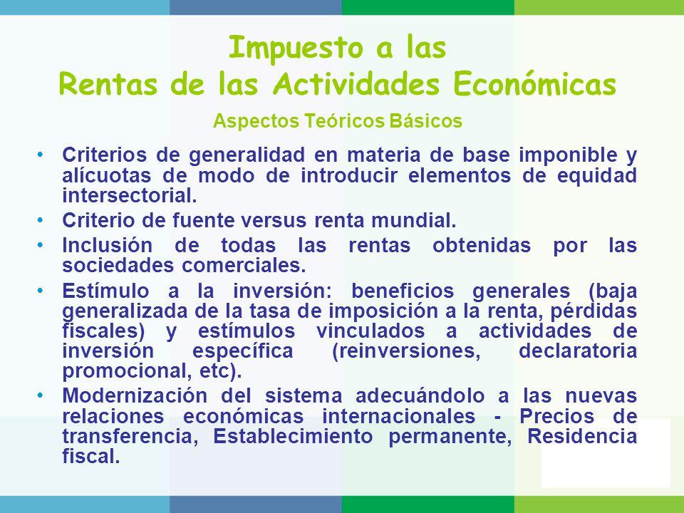 Impuesto a las Rentas de las Actividades Económicas Aspectos Teóricos Básicos