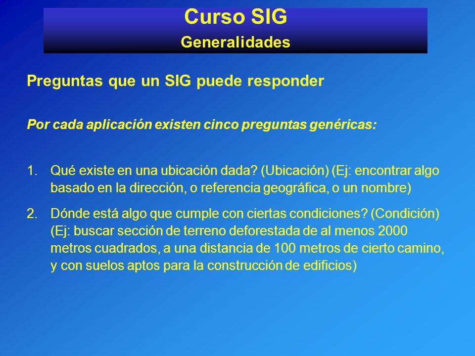 Curso SIG Generalidades Preguntas que un SIG puede responder