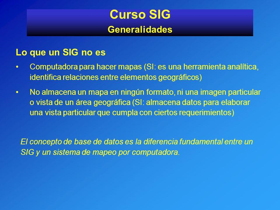 Curso SIG Generalidades Lo que un SIG no es