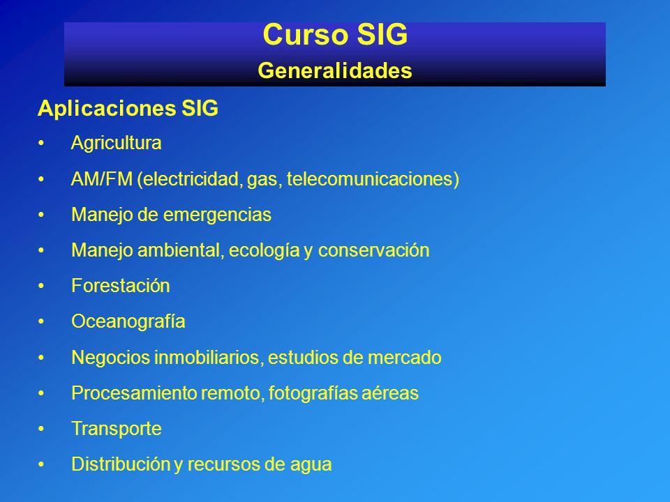 Curso SIG Generalidades Aplicaciones SIG Agricultura