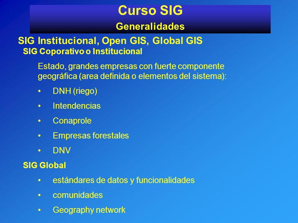 Curso SIG Generalidades SIG Institucional, Open GIS, Global GIS