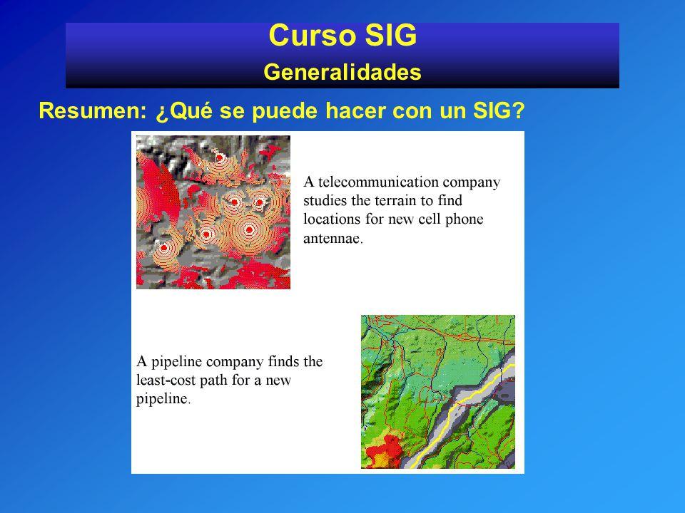 Curso SIG Generalidades Resumen: ¿Qué se puede hacer con un SIG