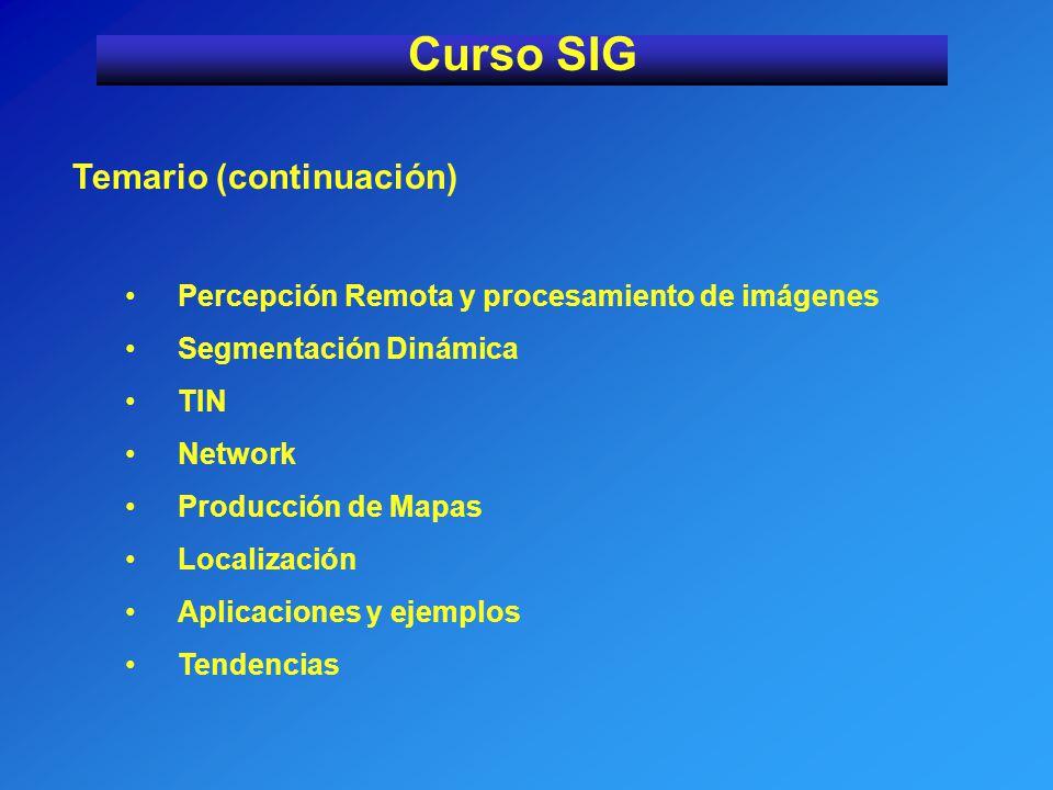Curso SIG Temario (continuación)
