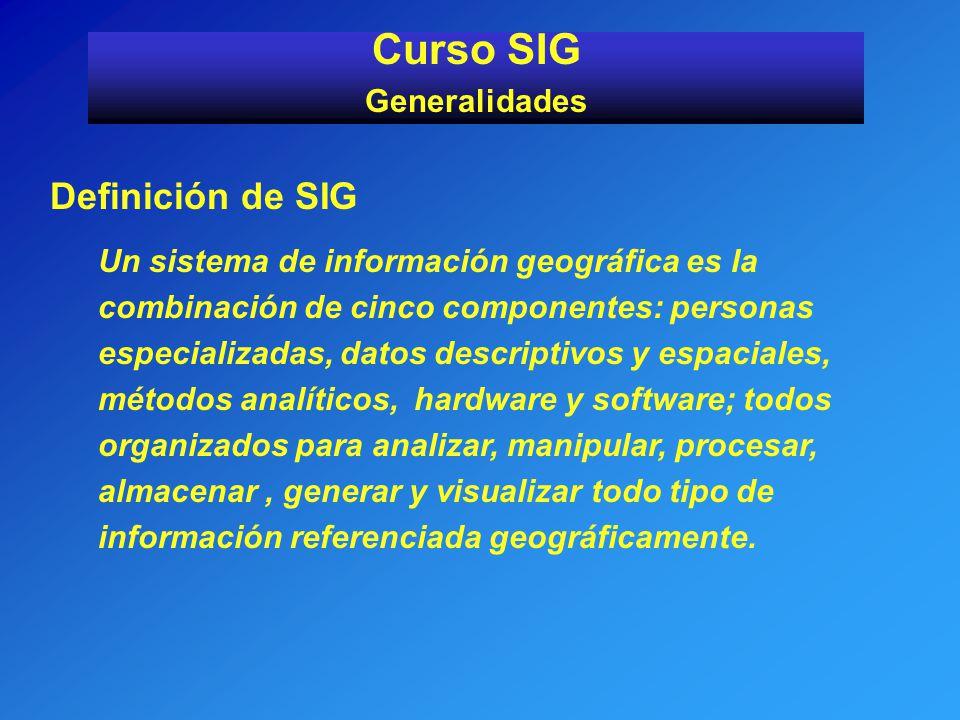 Curso SIG Definición de SIG Generalidades