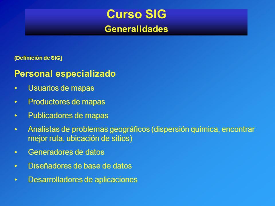 Curso SIG Generalidades Personal especializado Usuarios de mapas