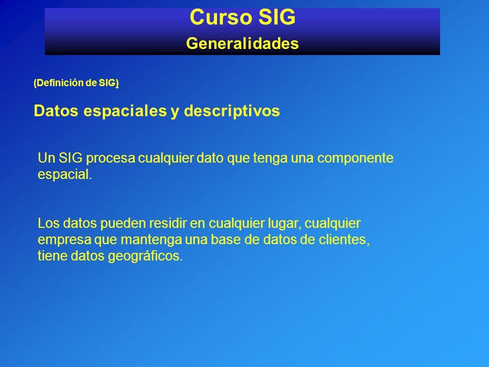 Curso SIG Generalidades Datos espaciales y descriptivos