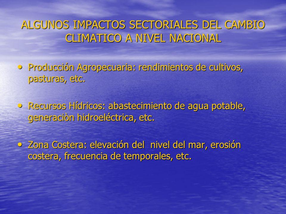 ALGUNOS IMPACTOS SECTORIALES DEL CAMBIO CLIMATICO A NIVEL NACIONAL