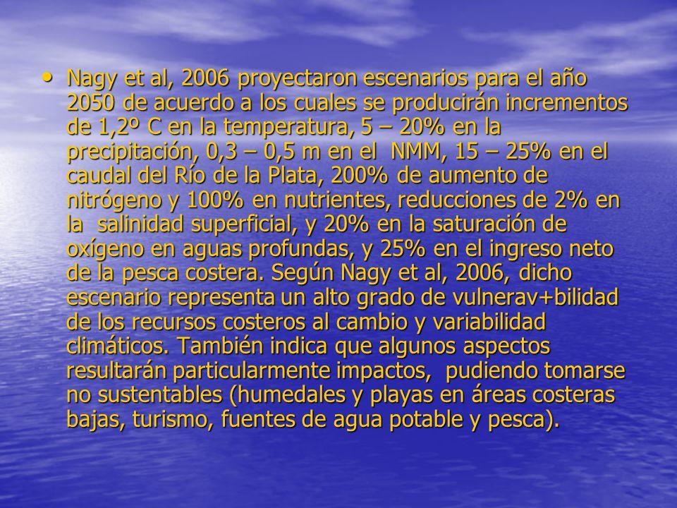 Nagy et al, 2006 proyectaron escenarios para el año 2050 de acuerdo a los cuales se producirán incrementos de 1,2º C en la temperatura, 5 – 20% en la precipitación, 0,3 – 0,5 m en el NMM, 15 – 25% en el caudal del Río de la Plata, 200% de aumento de nitrógeno y 100% en nutrientes, reducciones de 2% en la salinidad superficial, y 20% en la saturación de oxígeno en aguas profundas, y 25% en el ingreso neto de la pesca costera.