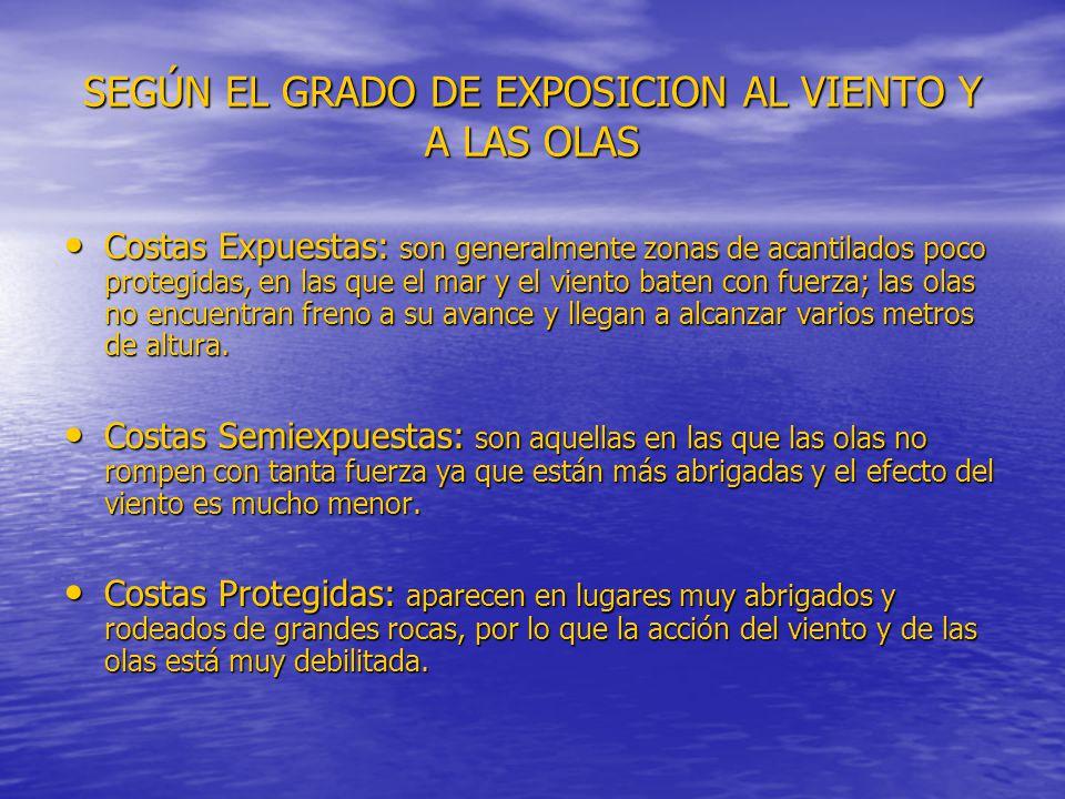 SEGÚN EL GRADO DE EXPOSICION AL VIENTO Y A LAS OLAS